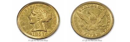 1857-D-$5-Feat