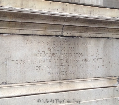The inscription on the statue of George Washington