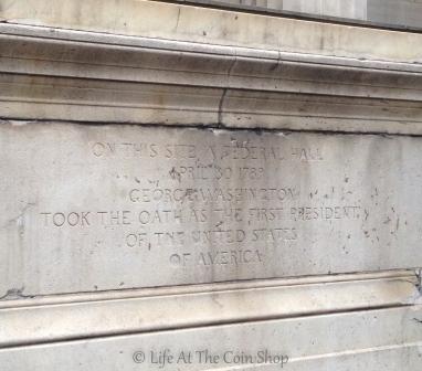 The inscription on the statue of George Washington