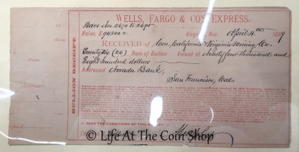 "Super awesome and super rare handwritten Wells Fargo ""bullion receipt"" from a stagecoach."
