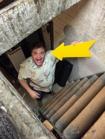 David Hunt goofing around while packing.